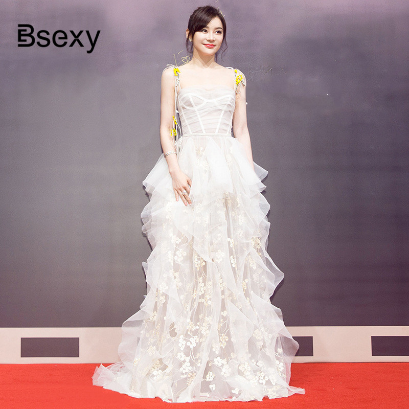 High Quality Luxury Floral Embroidery Mesh Ladies Long Dress 2018 Sexy Women Strapless Ball Gown Party Dress vestido de festa image