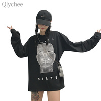 Qlychee Spring Women BF Style Black Oversize Tee Top Robot Letter Print T Shirt Long Sleeve