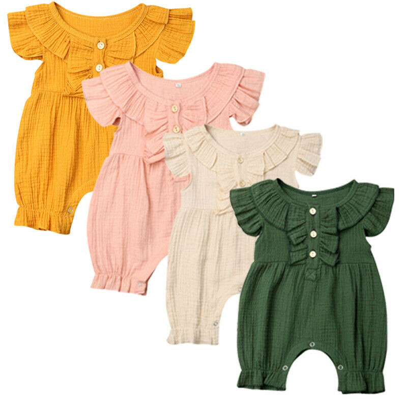 Baby Boy Girl Short Sleeve Romper 2020 Newborn Cotton Romper Solid Color Ruffles Jumpsuit Outfit Summer Clothes