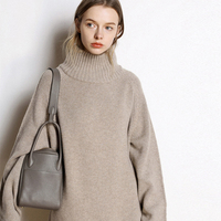 Autumn and winter new high neck cashmere sweater women's long loose sweater knit bottom skirt