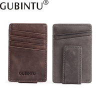GUBINTU 2017 New Genuine Leather Card Holder Men And Women Wallet First Layer Scrub Creative Simple