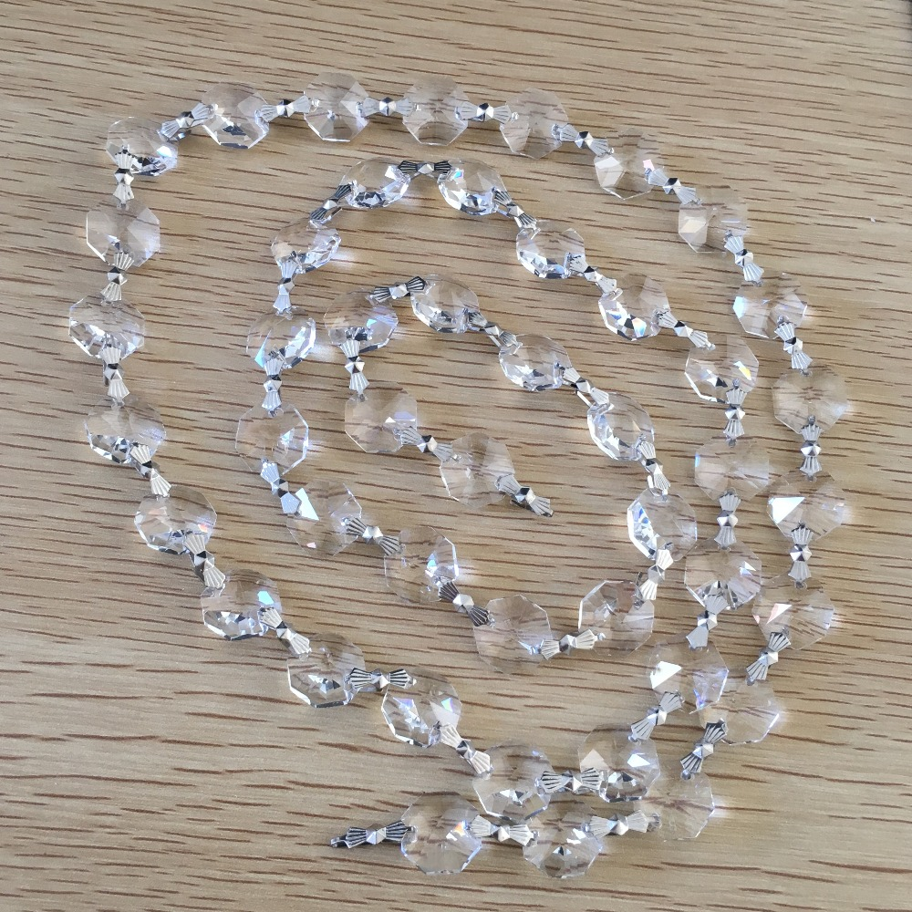 FREE SHIPPING Wedding Crystal Garland Strand 50 meters lot 14mm Octagon Crystal Beads connected with 33mm