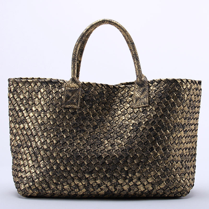 10 Colors Brand Shinning Woven Leather Handbag Cross Stitch Hobo Womens Knitting Serpentine Bag Large Casual Tote