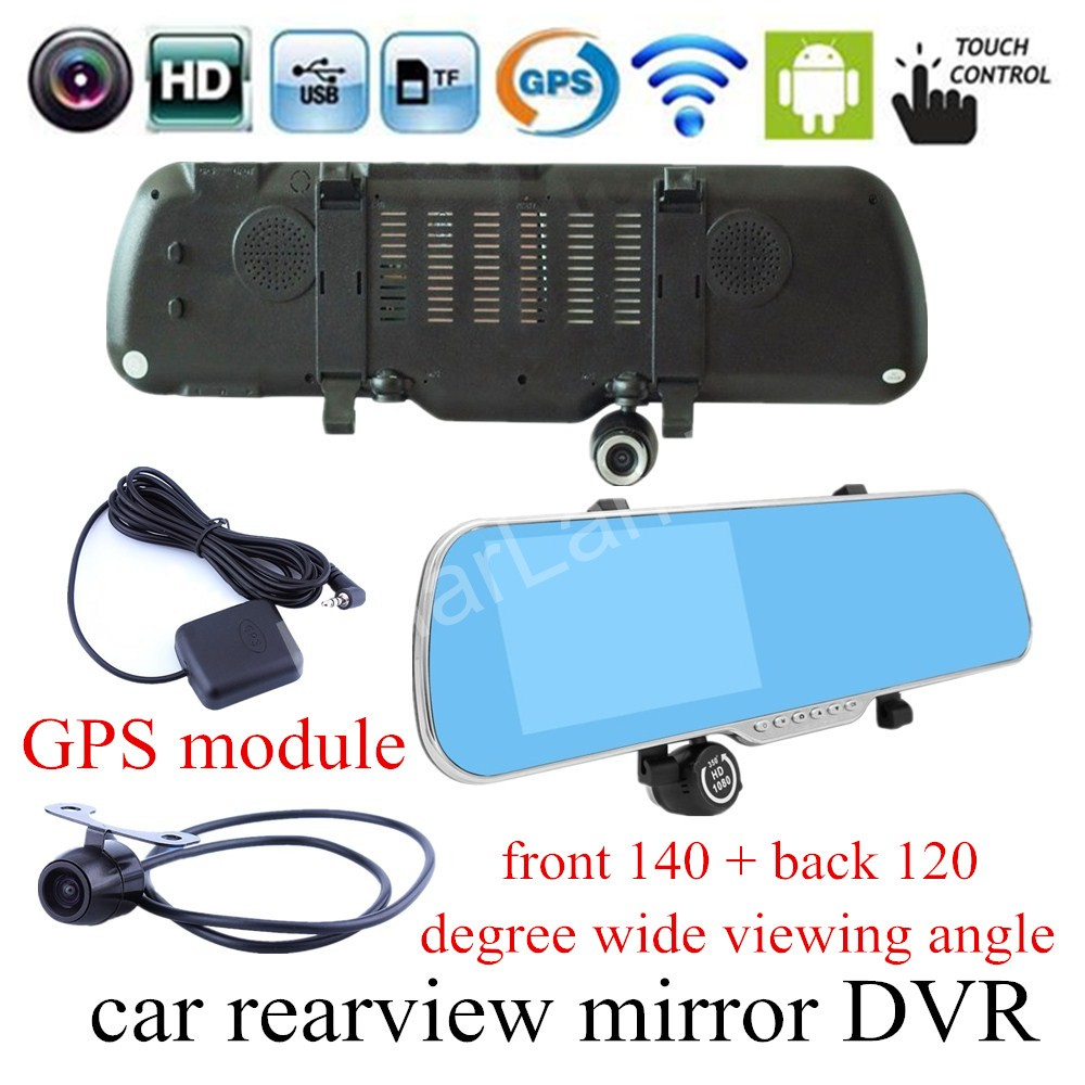 for android WIFI GPS navigation 5 inch for Android Rearview mirror Car DVR Mirror Dash Cam Dual Lens Camera touch screen 5 ips touch screen car dvr android 4 4 2 1g and 8g gps navigation mirror car dvr dual lens camera rear parking wifi fm transmit