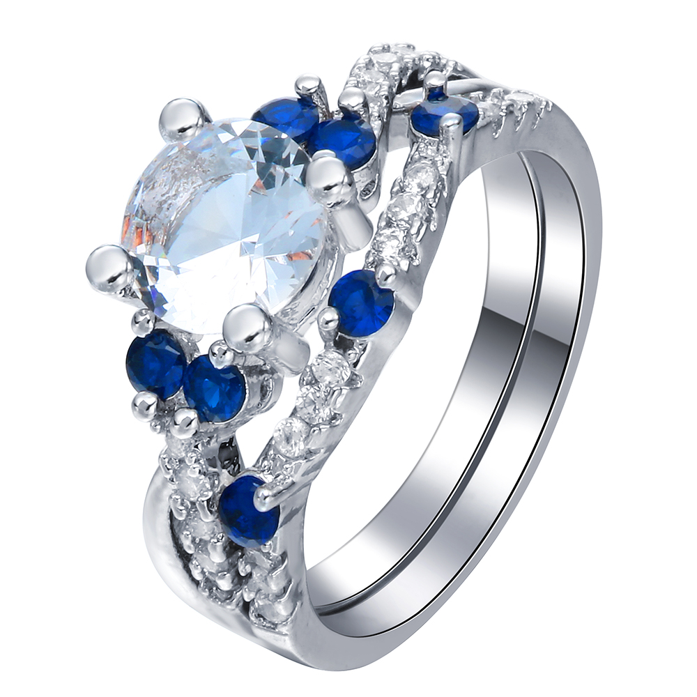 new silver plated finger Rings wholesale new design micro paved blue cross design zircon wedding Engagement Ring set for women