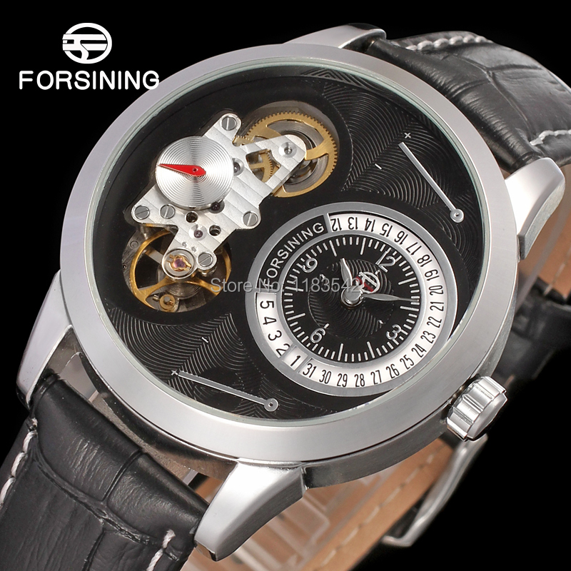Famous brand FORSINING FSG8015Q3S1 new Quartz silver men wristwatch tourbillon black leather strap shipping free все цены