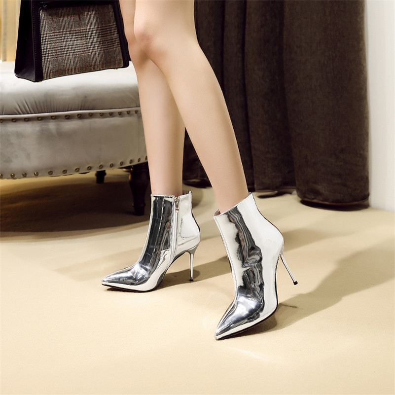 Botas Noche Oro Plata Naranja Fiesta Zapatos De Conasco Altos Club Moda Boda Marca Básico plata Tobillo Tacones Mujer Bombas W08vqwz