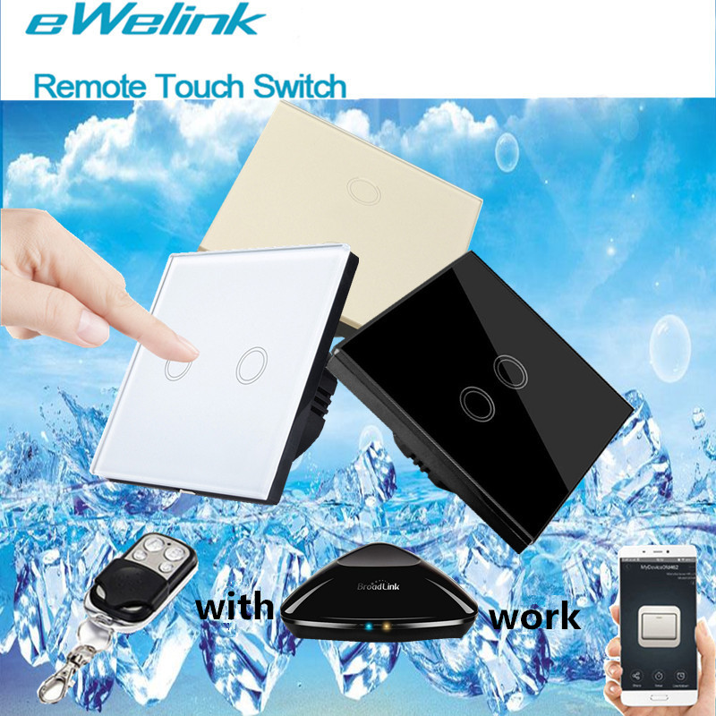 eWelink EU Standard Wall Touch Switch,Glass Panel 2 Gang 1 Way Remote Control Switch+LED backlight Comaptible Broadlink Pro smart home us black 1 gang touch switch screen wireless remote control wall light touch switch control with crystal glass panel