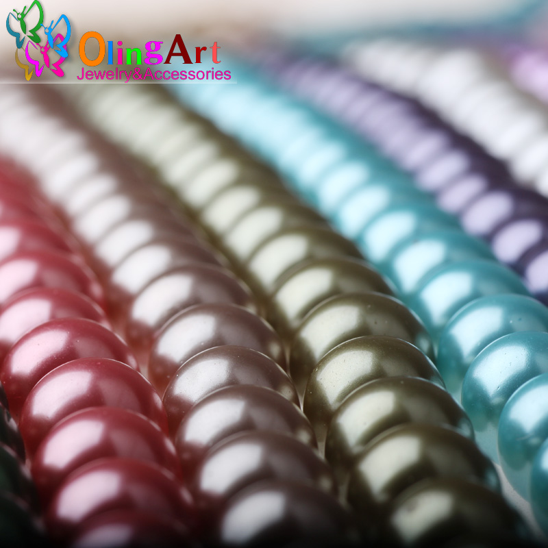 10MM round mixed multicolor environmental quality glass imitation pearls 100PCS /Lot  DIY bead jewelry accessories free shipping