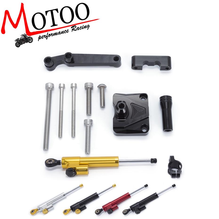 Motoo - Motorcycle Full set CNC Steering Damper Stabilizerlinear Linear Stabilizer Bracket For KAWASAKI NINJA 250R EX250 2008-12