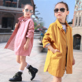 Children's New Girls Baseball Uniform Jacket Female Child Long Coat Spring and Autumn Kids Clothing Yellow Pink Cotton