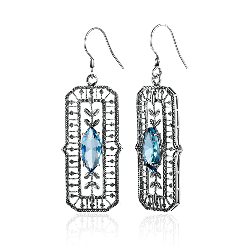 925 Sterling Silver Earrings Fashion Charm Fine Jewelry Women Vintage Evening Party Wedding Lab Aquamarine Stone Earring Jewelry