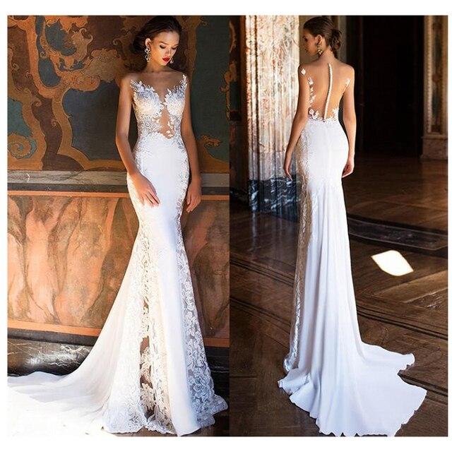 Vestido de novia sirena LORIE 2019 Sexy Apliques de encaje vestido de novia ver a través de la espalda vestidos de boda de playa