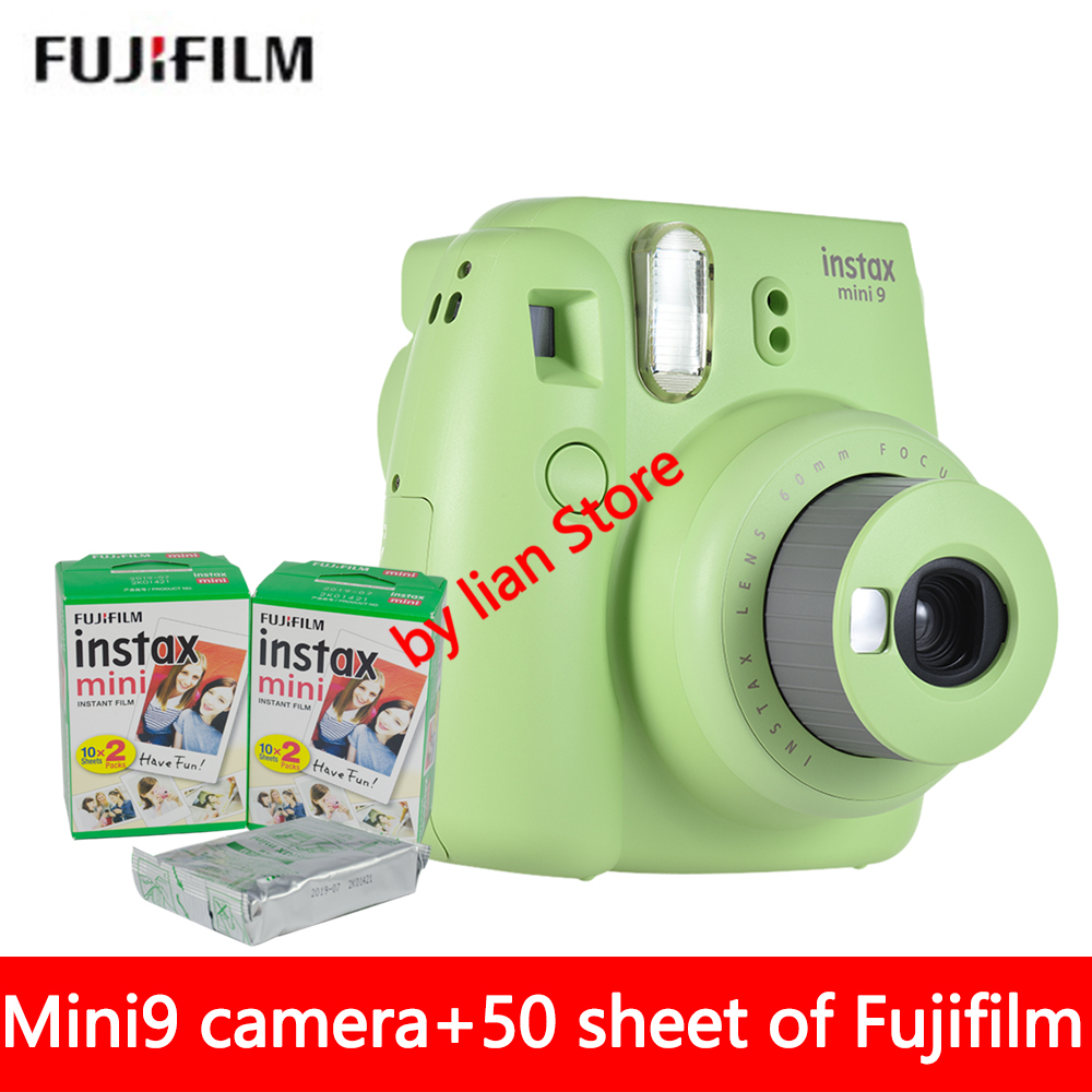 New 5 Colors Fujifilm Instax Mini 9 Instant Photo Camera + 50 sheet Fuji Instax Mini 8 White Film + Close up Lens fujifilm instax mini 9 camera 5 colors 10 shots fuji mini 9 instant film monochrome photo paper free shipping