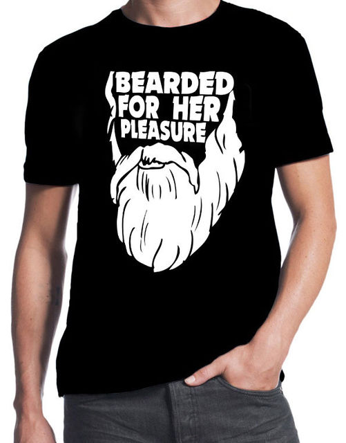 46f5403b0 Bearded For Her Pleasure Funny Beard Hipster New Mens Black Slogan Cool T- Shirt Newest 2017 Fashion Stranger Things T Shirt Men
