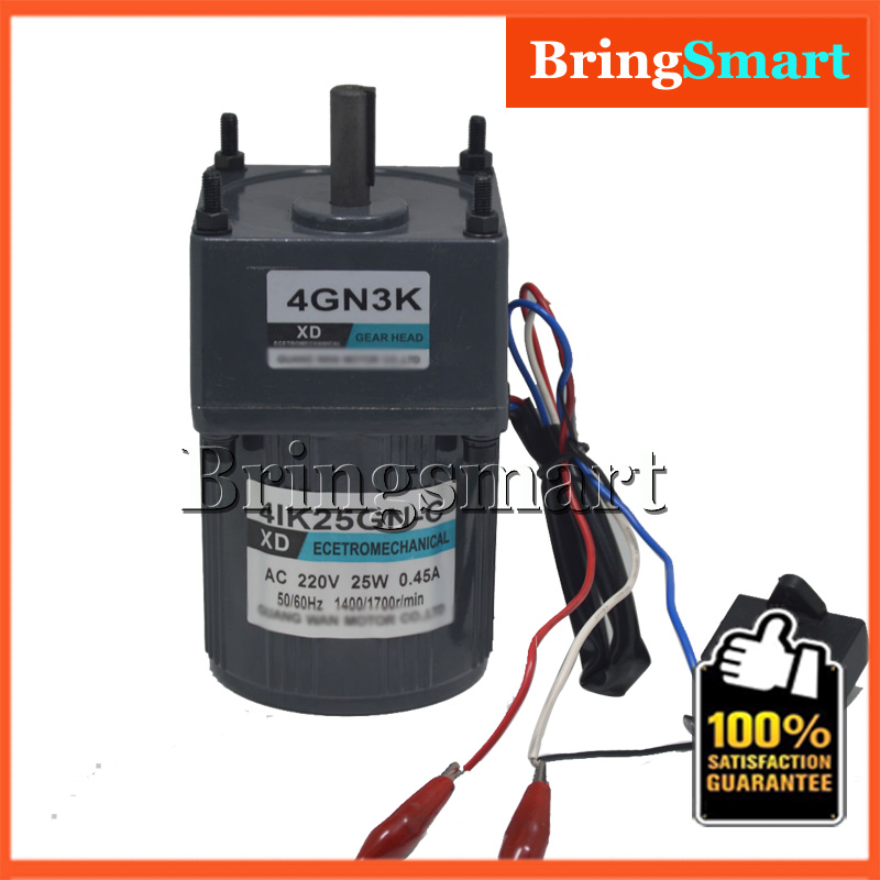 4IK25GN-C AC 220V 25W Geared Motors Fixed Speed Motor Single Phase 220V AC Constant Speed Motor Reversible With Capacitor cnbtr low speed electric geared motors dc12v 2 5rpm metal gearbox motor
