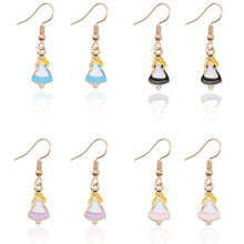 Fashion Cartoon Alice Girl Earrings Female Cute Golden Dragonfly Color Figure Kawaii in Wonderland Gift Brincos