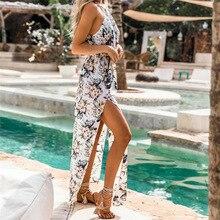 Mujer vestido de verano vestido Boho largo noche Maxi playa vestido Sexy de moda hombro Chiffon longitud del tobillo vestido