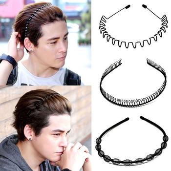 AOMU 1 pc Fashion Mens Women Unisex Black Wavy Hairbands Hair Hoop Sport Headband Hairband Face Washing Hair Accessories