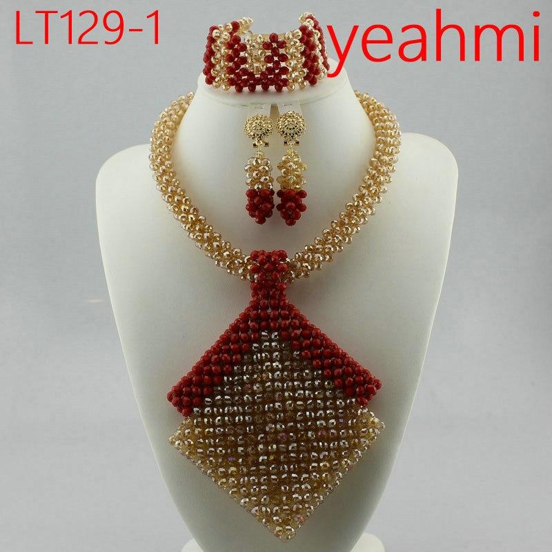 Dubai or bijoux ensembles pour femmes 2018 cadeau de mariée mariage nigérian perles africaines bijoux ensemble Chunky pendentif collier LT129-2