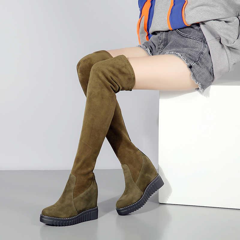 TXCNMB ฤดูหนาวผู้หญิงหนังนิ่มหนัง Flock เข่ารองเท้า Slip-on Casual ถุงเท้ารองเท้ารอบ Toe แพลทฟอร์ม Party รองเท้าผู้หญิง