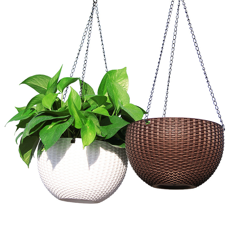 Rattan Round Hanging Basket Self Watering Flowerpot Plastic Resin Plant Holder Container Succulent Plants Home Garden Decoration-in Flower Pots & Planters from Home & Garden
