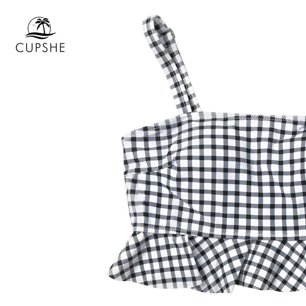 CUPSHE Black And White Gingham Ruffles Bikini Sets Women High Waist Belt Tank Two Pieces Swimsuits 2020 Girl Cute Bathing Suits 3