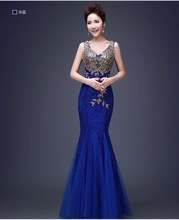 Elegant 8 color appliques Mermaid/Trumpet Lace evening dress crystal pink/Royal blue prom party dress vestidos de festa