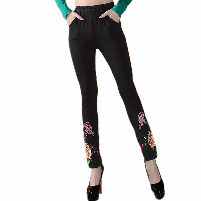 2019 Fashion Embroidery Pants Women Quality Spring Autumn Harajuku Brand Ladies Trousers Casual 4XL Pants Bottom Cotton Clothes