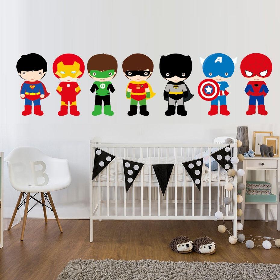 7 Pieces Super Hero With Mask Wall Sticker Cartoon Batman Art Wall Decal Diy Wallpaper For Kids Boy bedroom nursery Home Decor
