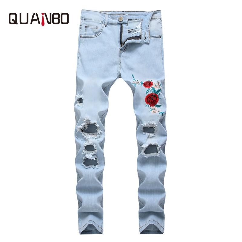 QUANBO 8 Colors Mens Ripped Jeans 2019 New Fashion Embroidery Rose Men Jeans Light Blue Slim Fit Stretch Denim Pencil Pants  42