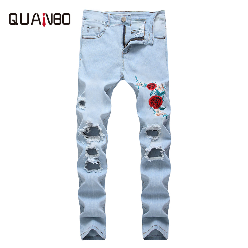 QUANBO Brand Men's Embroidery Hole Ripped Elastic   Jeans   Straight Slim Fashion High Street Minimalist Casual Denim Pants 38 40 42