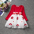 Fashion red princess tutu baby 1st birthday toddler girl dress longsleeves