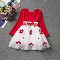Fashion red princess tutu baby 1st birthday toddler girl dress longsleeves
