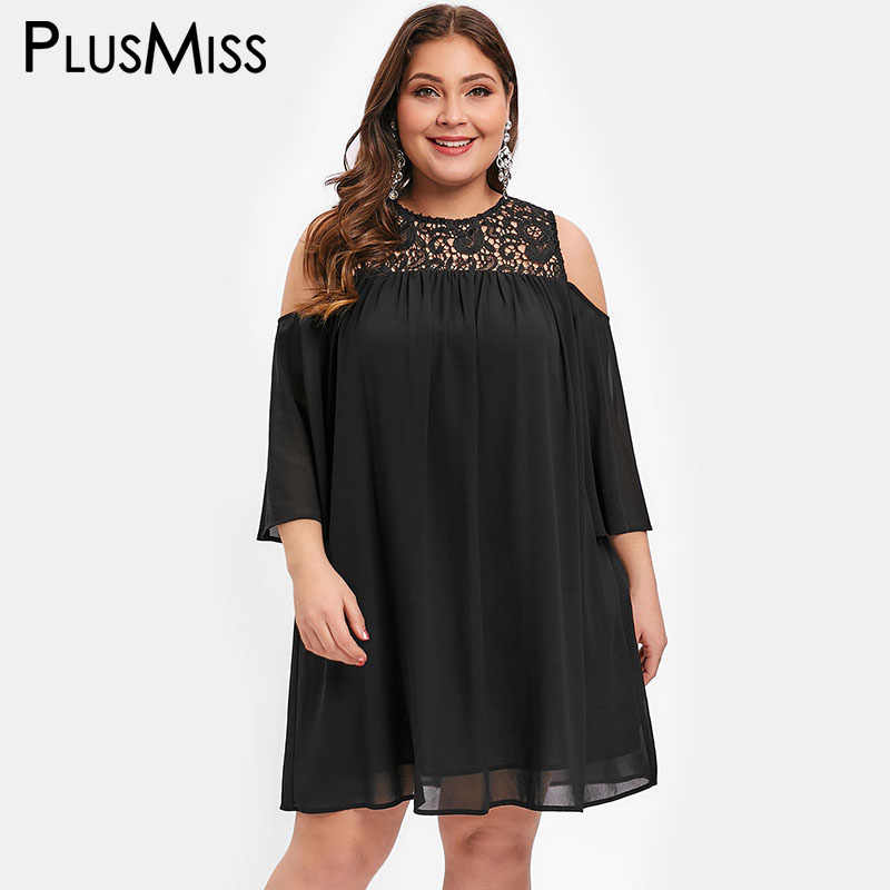 07799362107 PlusMiss Plus Size 5XL Lace Crochet Cold Shoulder Chiffon Mini Dresses  Women Summer Vintage Loose Sundress