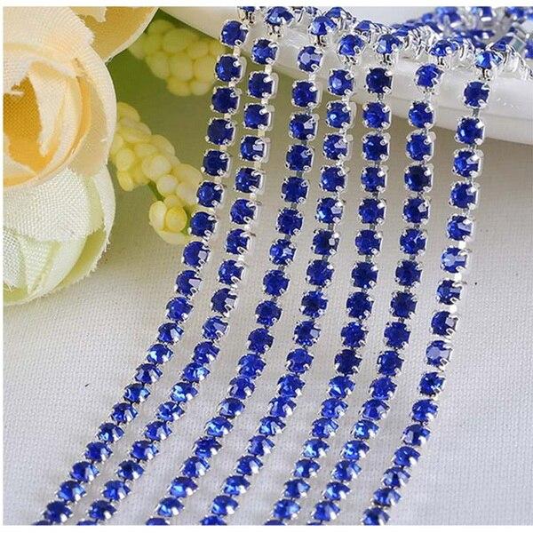 1 м/лот пришитые хрустальные стразы на цепочке SS6 SS8 SS10 SS12 Серебряная основа плотная коготь стеклянная отделка горного хрусталя DIY аксессуары - Цвет: Royal Blue