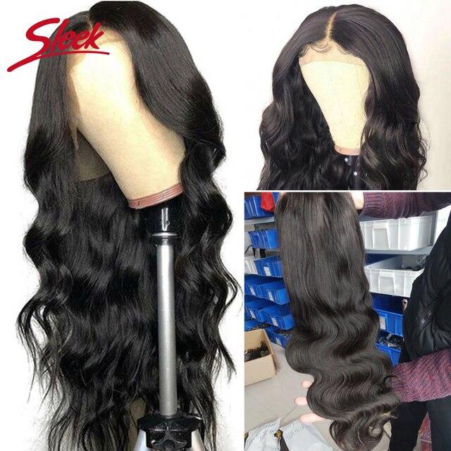 Elegancki brazylijski Remy 13x4 koronki przodu peruki z ludzkich włosów 8-28 30 Cal ciało fala peruki z ludzkich włosów wstępnie oskubane włosy z dzieckiem włosy