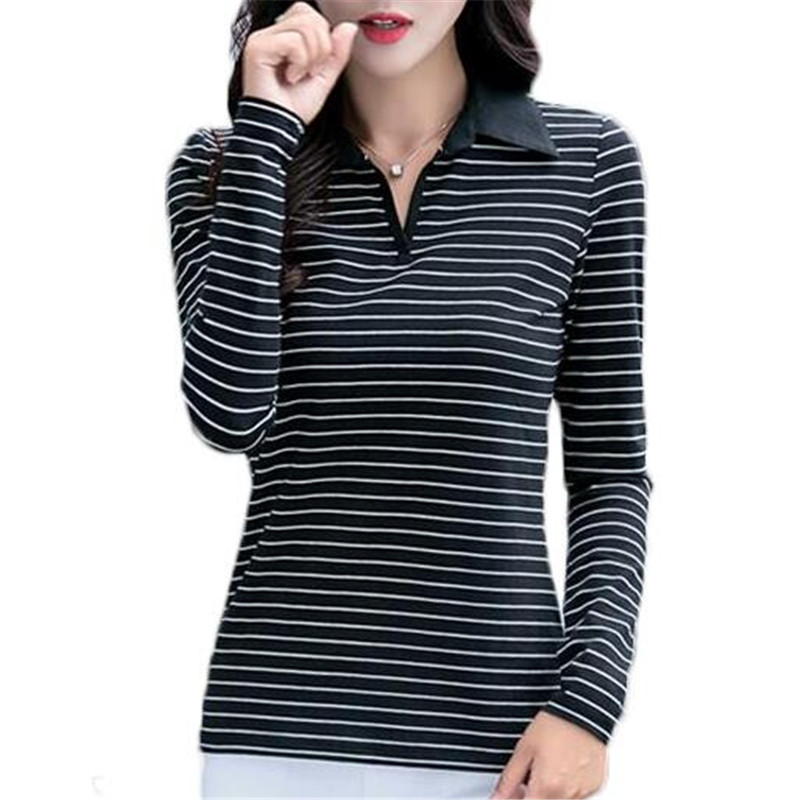 Stripe Plus Size Polo Shirt Women Brand Long Sleeve Casual