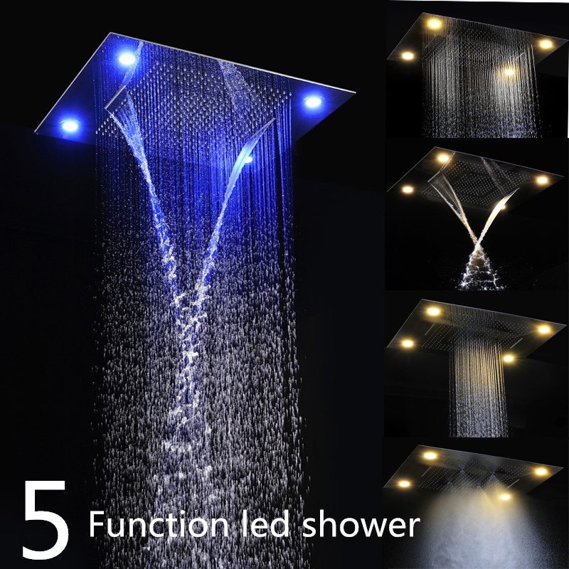 Multiple Shower Head Control kit in box polished 600*800mm rectangular ceiling rainfall