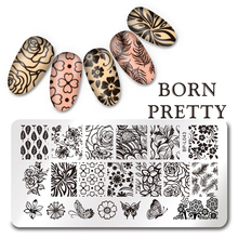 1 Pc BORN PRETTY Flower Butterfly Design Nail Art Stamp Template 12*6cm Rectangle Manicure Nail Image Plate L043
