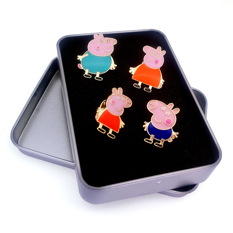 Free shipping Fashion jewelry Wholesale gift Page George, a social man, piggy, peki, drops oil brooch(4 pieces/set)