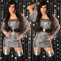 Sexy Short Dress Open Sleeves Mini Club Dress 3S2027 Free Shipping Leopard Sexy Clubwear Party Sequin