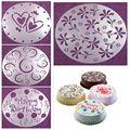 Eco Friendly High Quality 4 Styles Flower Heart Spray Stencils Birthday Cake Mold Decorating Bakery Tools DIY