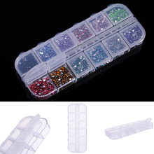 1pc Empty Nail tool Divided Drill Jewelry Box Storage Holder 12 Grid Double Flip Case Alone Open Rhinestone Nail Art Equipment