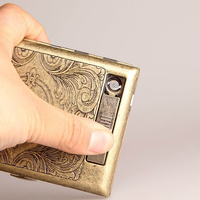 Retro Cigarette Case with Tungsten Wire Lighter Electronic USB Lighters Cigarette Box Metal Holder Cover for 20 PCS Cigarettes