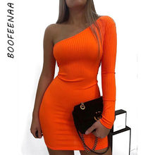 BOOFEENAA Sexy One Shoulder Long Sleeve Bodycon Mini Dress Orange Green Neon Candy Color Ribbed Knitted Sweater Dresses C54-I85(China)