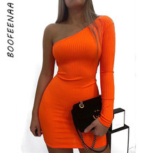 BOOFEENAA Sexy One Shoulder Long Sleeve Bodycon Mini Dress Orange Green Neon Candy Color Ribbed Knitted Sweater Dresses C54-I85