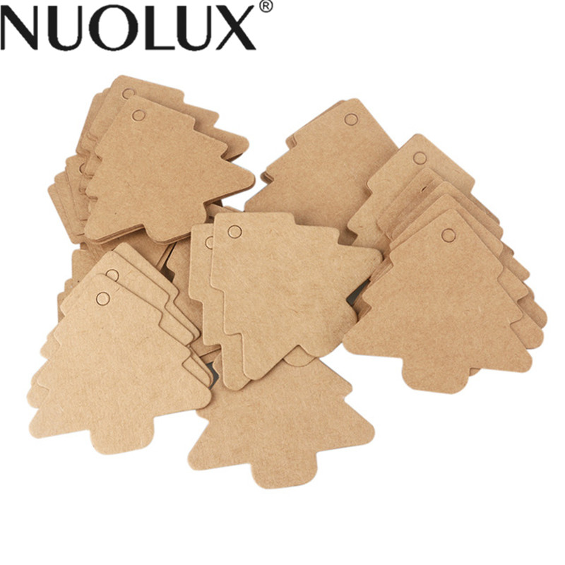 50pcs Scalloped Kraft Paper Christmas Tree Gift Parcel Tags Label Luggage Paper Tags With 10M Rope
