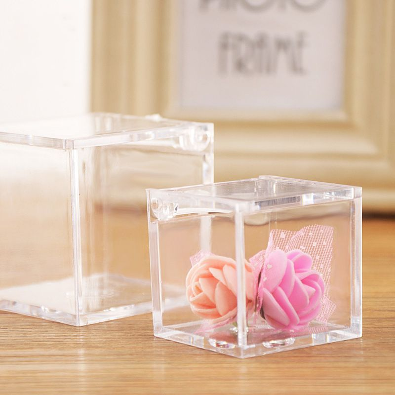 Boxes Cube Candy-Box Shower Gift Clear Christmas Transparent Plastic Baby Wedding-Favor