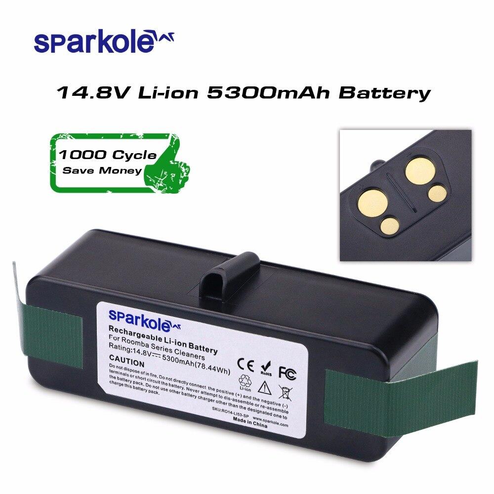 SPARKOLE Nuova Versione 5.3Ah 14.8 V Li-Ion Batteria per iRobot Roomba 500 600 700 Serie 800 510 531 532 550 585 561 620 630 650 880
